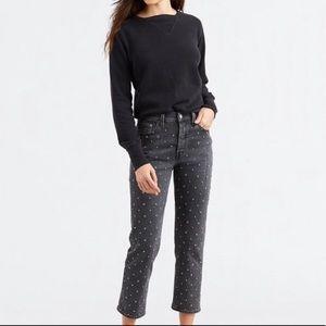 Levi's 501 Crystal Crop Black Jean Embellished